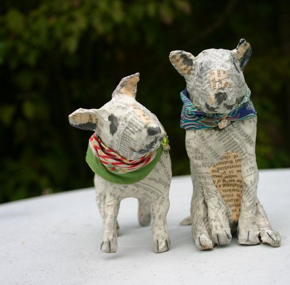 Charming Papier Maché Bull Terrier with Retro by TheTerriersClub