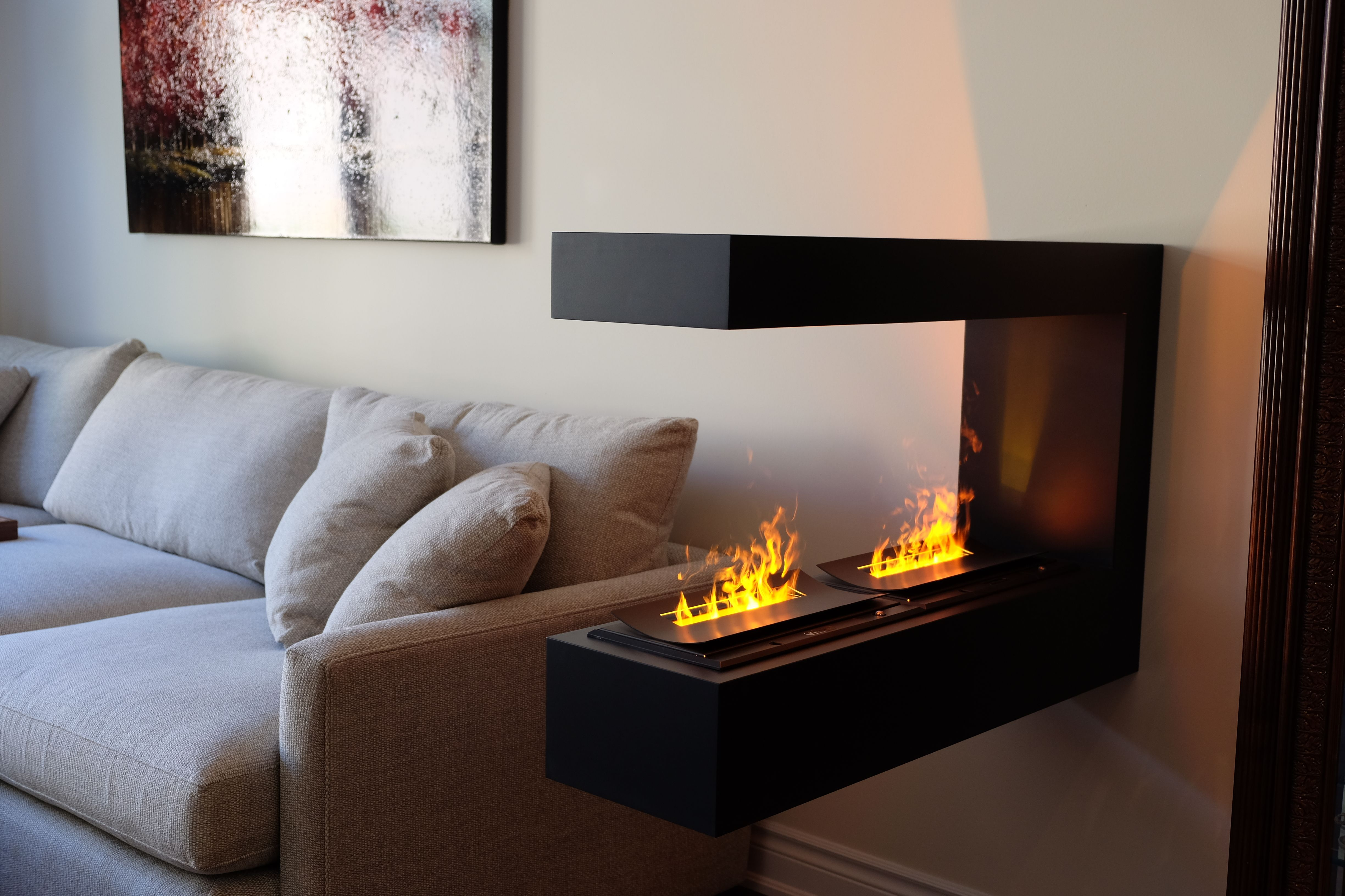 Peninsula Electric Fireplace With Water Vapor Technology Handmade Cabinets Fireplaces Toronto