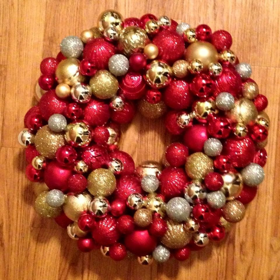 Red Gold And Silver Ornament Wreath Silver Christmas Ornament Wreath Christmas Decorations
