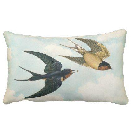 Barn Swallow Bird Eat A Bug Nature Flight Aged Lumbar Pillow