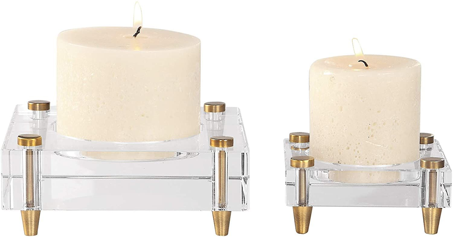 My Swanky Home Luxe Minimalist Crystal Block Candle Holder Set 2 Simple Square Gold Pillar Home Kitchen Home Deco In 2020 Candle Holder Set Candles Block Candles