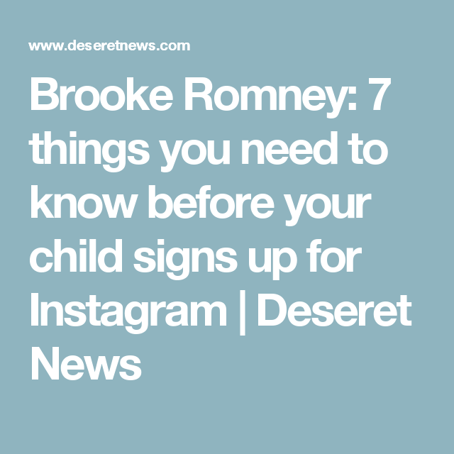 Brooke Romney: 7 Things You Need To Know Before Your Child