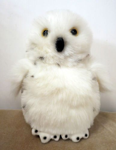 "Plush Aurora White Snowy Owl 9"" Yellow Eyes Spots on Back Fast Shipper 