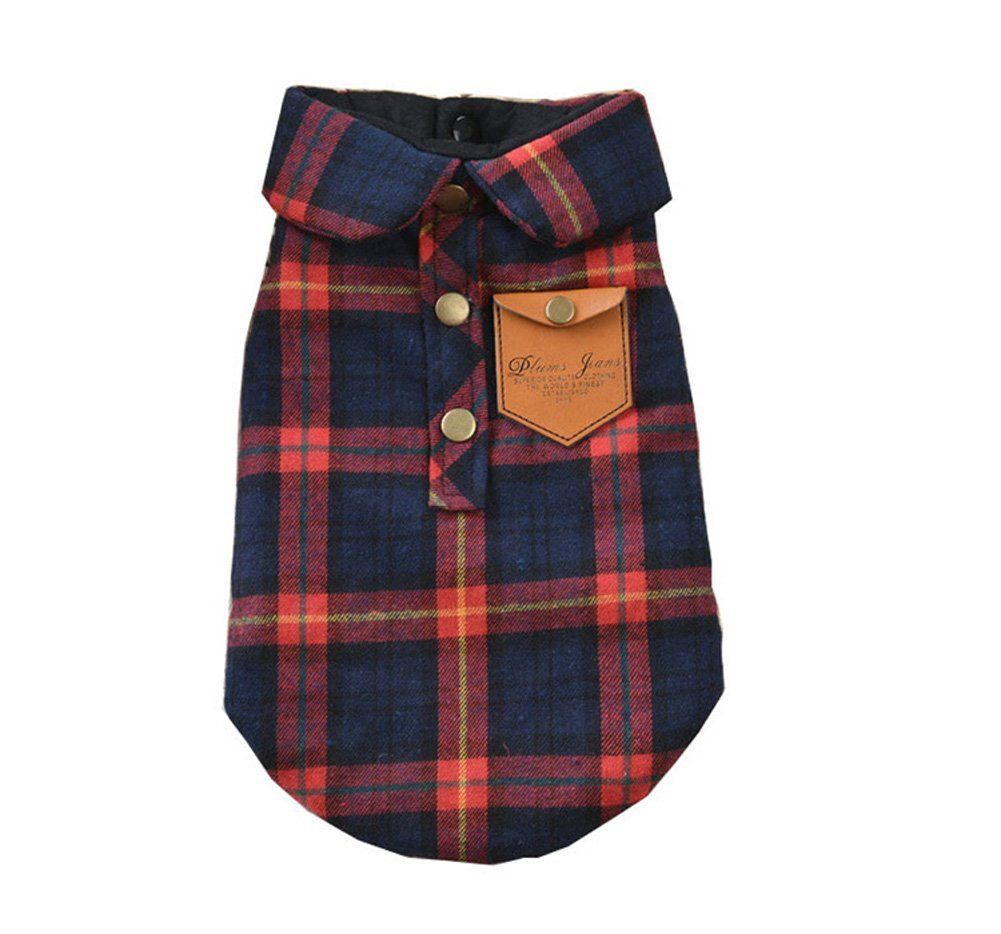 Flannel shirts for dogs  BBEART Pet Clothes England Plaid Double Layer Flannel TShirt