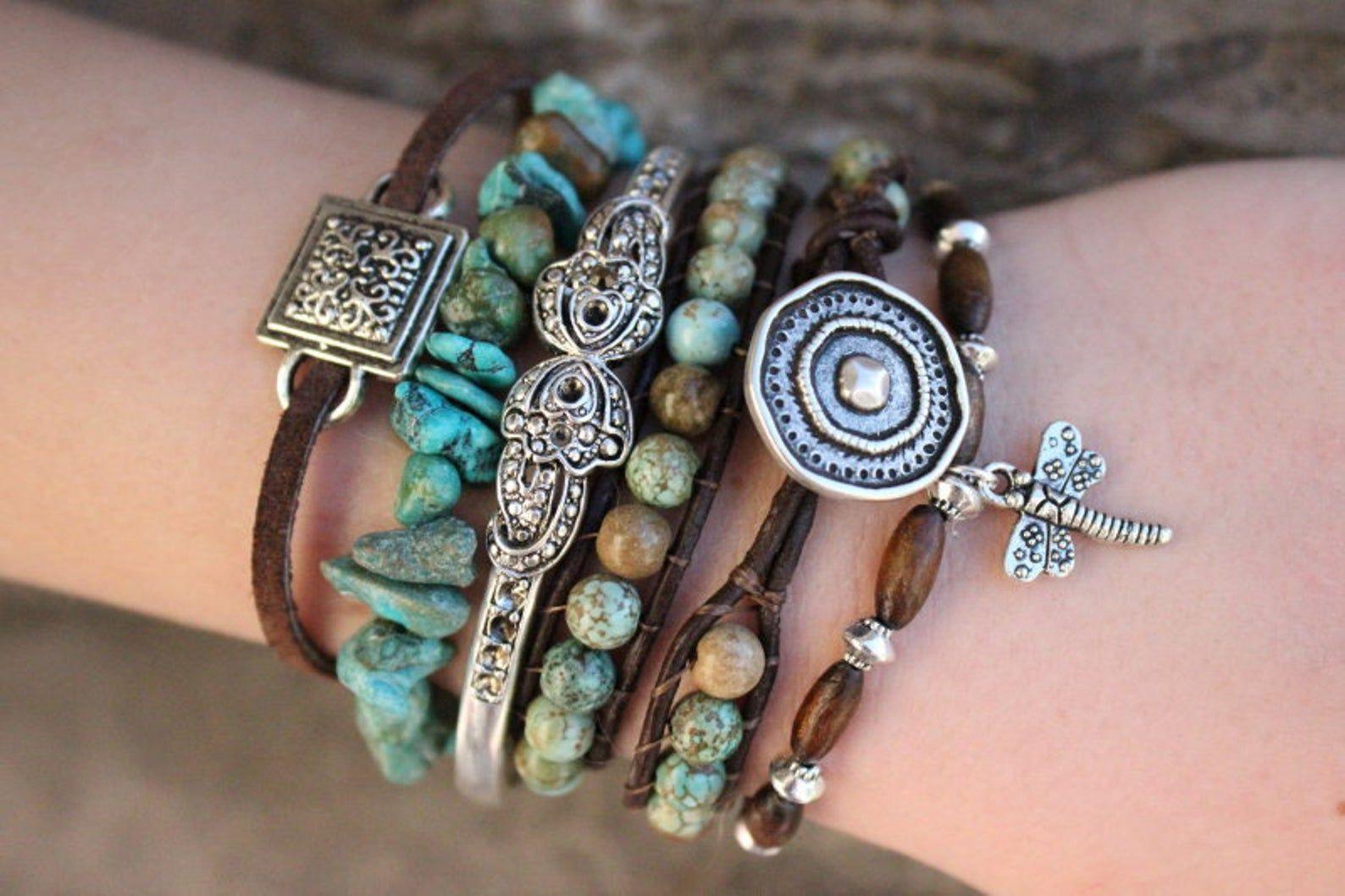 Natural Gemstone Turquoise Grey Cord Stacking Wrap Bracelet Stacks Vegan