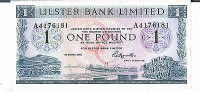 Northern Ireland Banknote Ulster Bank 1 P325b 1976 Au Unc With