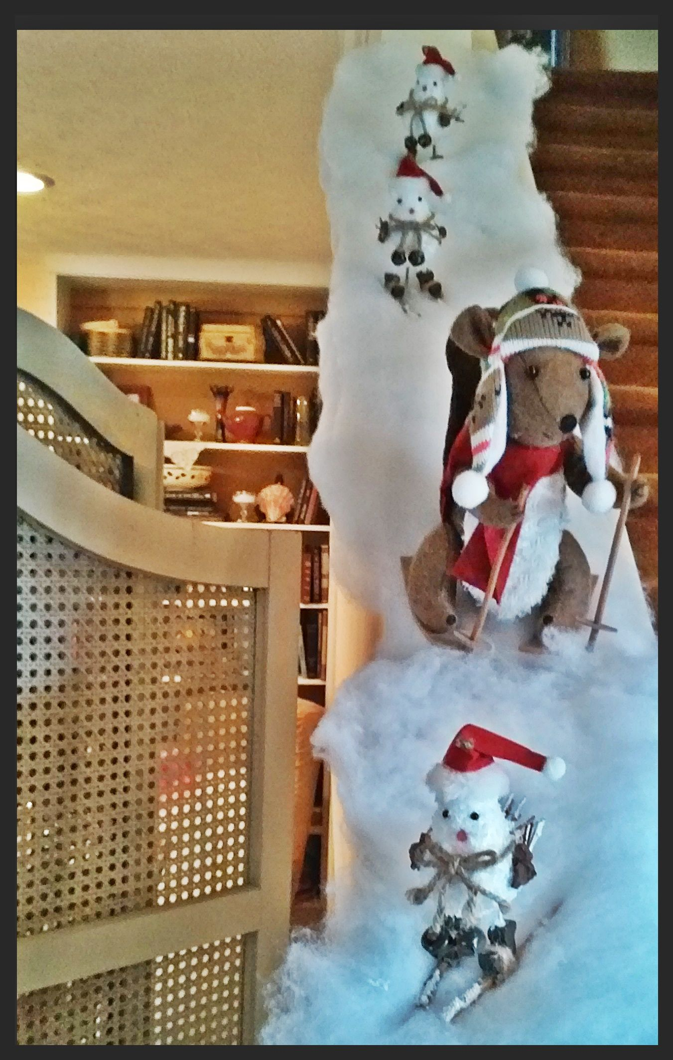 A ski slope on stair railing christmas decorations