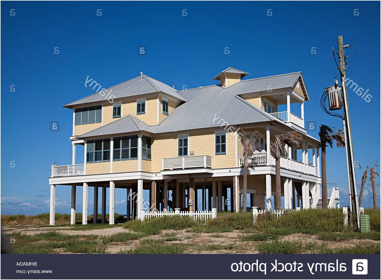 Wooden House On Stilts Beach Front Galveston Texas Usa Stock From Houses In