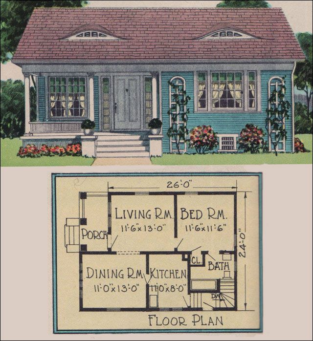 1926 Yerkes Plan By Radford American Builder Magazine Vintage Small House Plans Colonial Cottage T Colonial Cottage Sims House Plans Vintage House Plans