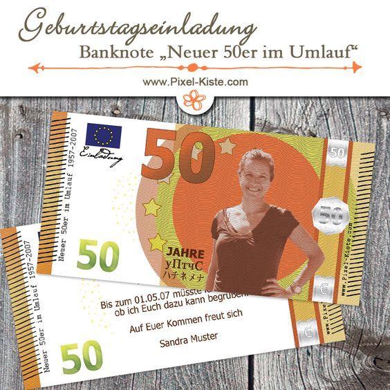 Banknote Geldschein 50. Geburtstag Einladung \