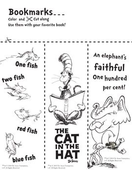 bookmarks to color | The Centered School Library: Dr. Seuss ...