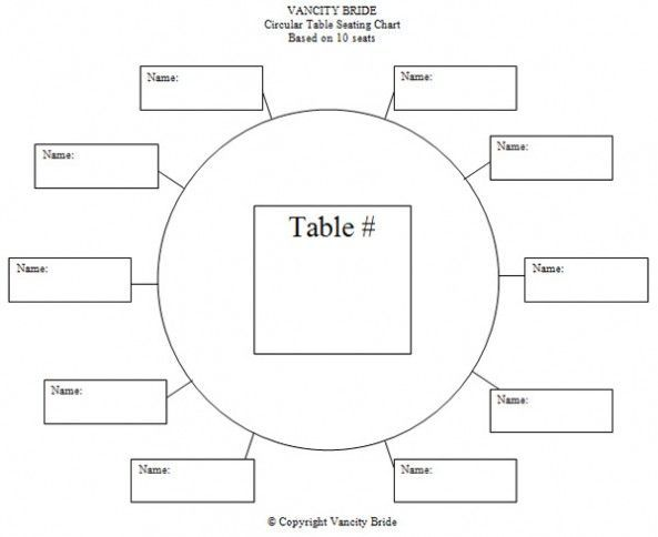 Circular Table Chart For 10 Guests Seating Chart Wedding Template Reception Seating Chart Wedding Seating Plan Template