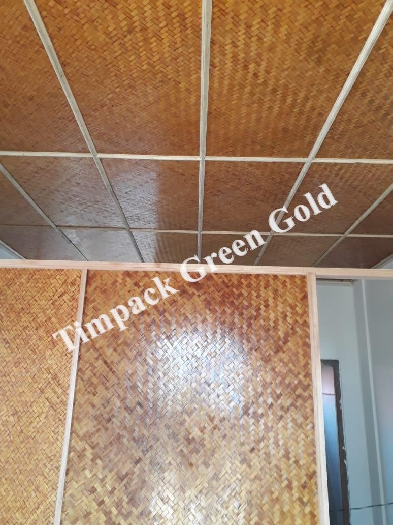 Bamboo Ceiling And Parion Made From Our Mat Board Tile Floor