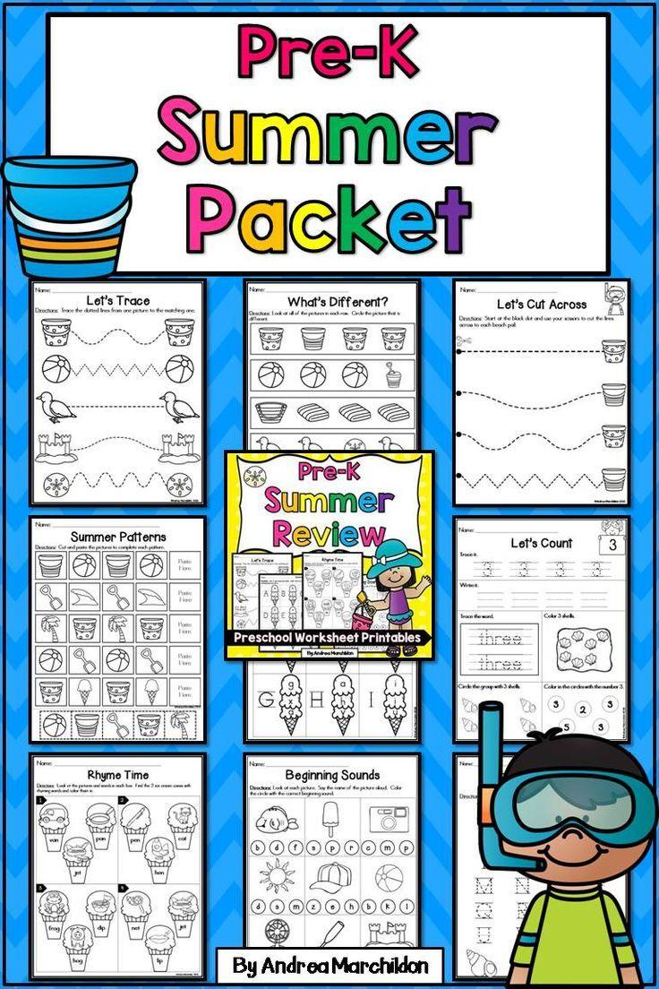 Preschool (PreK) Summer Packet Pre k worksheets, Summer