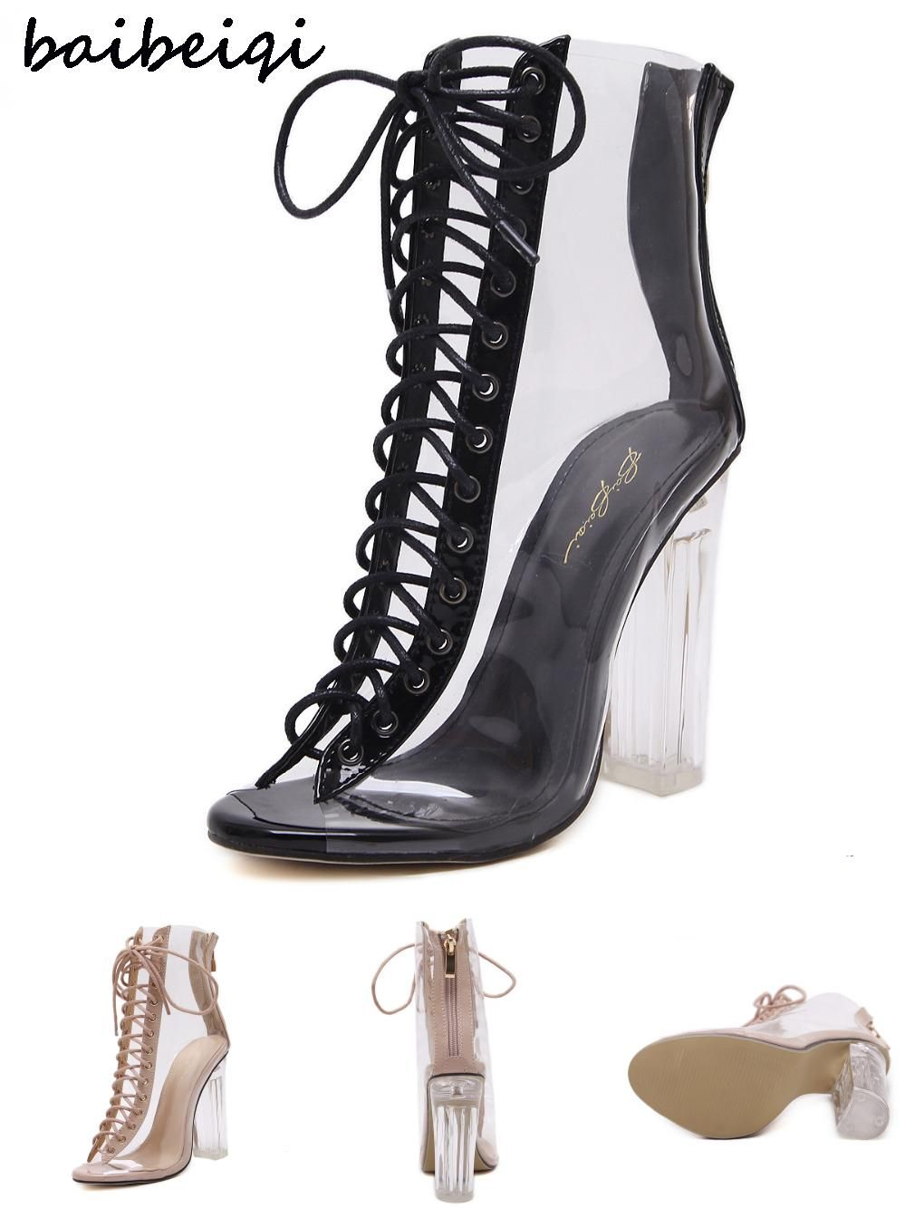b7c910ce44cc  Visit to Buy  baibeiqi Women Gladiator Sandals PVC Clear High Heel  Transparent Boots Lace