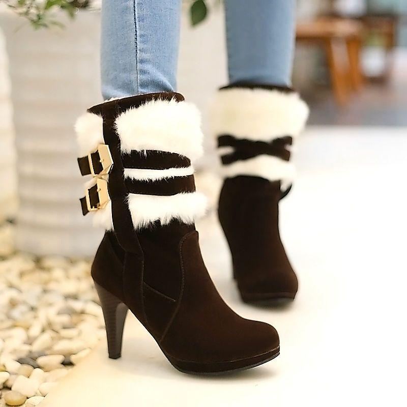 Elegant Womens Winter Faux Fur Furry High Heel Warm Strappy Buckle Ankle Boots   eBay