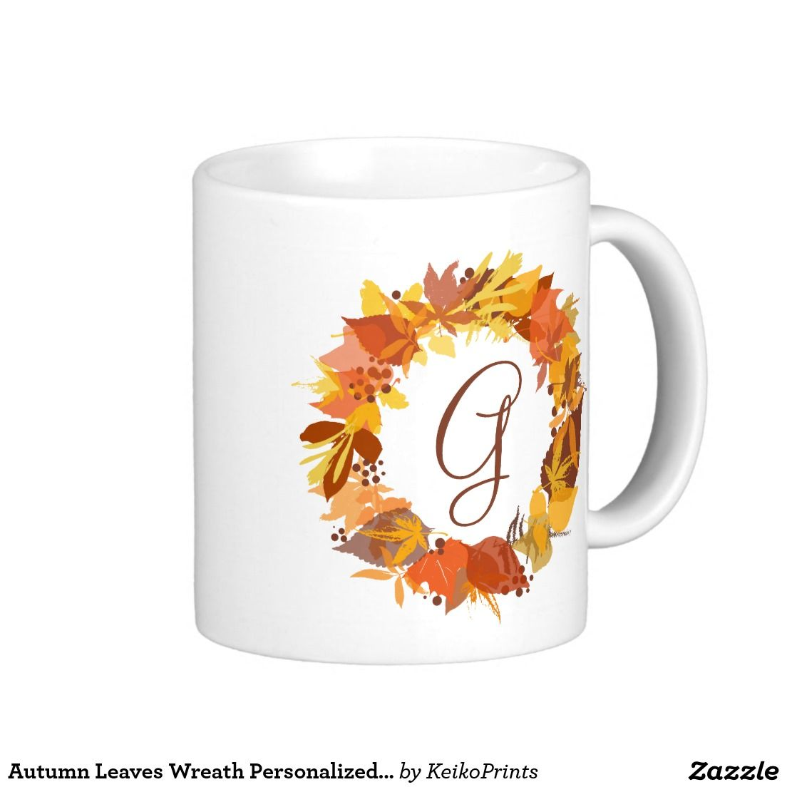 Autumn Leaves Wreath Personalized Monogram Mug  Mugs Cups and