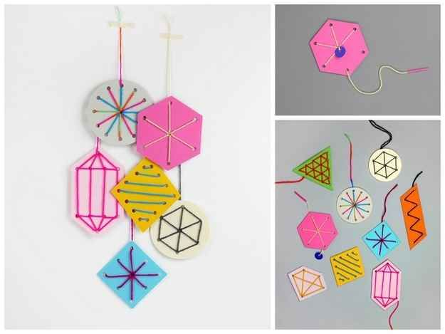 Easy Sewing Card Ornaments | 36 Adorable DIY Ornaments You Can Make With The Kids