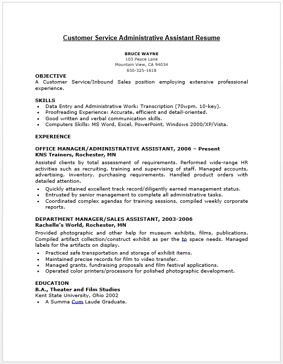 Customer Service Administrative Assistant Resume  Resume  Job