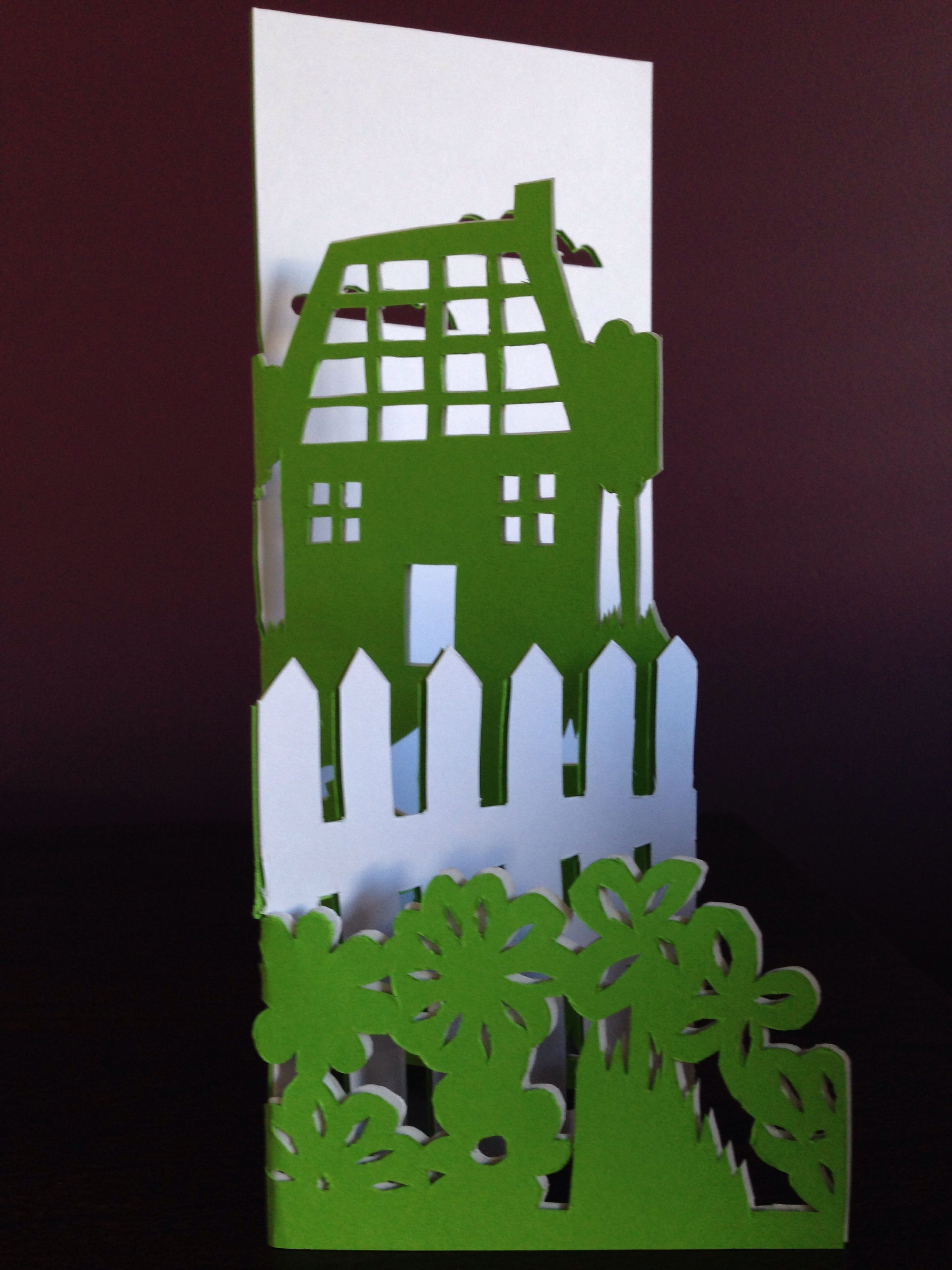 House warming card paper cutting - Accordion-fold