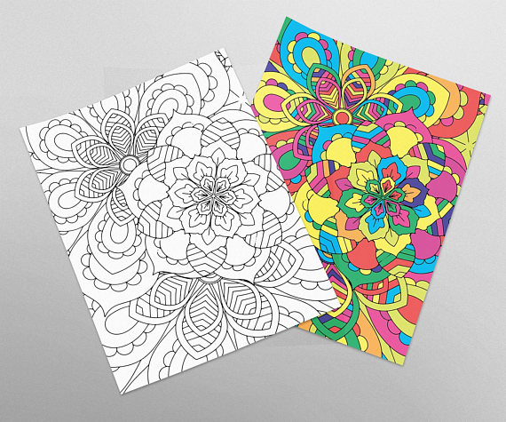 Adult Coloring Page Flower Mandala Meditation Us Letter Size Paper