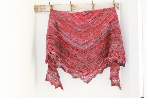Hand knitted shawl with hand spun yarn lots of sparkle by FARMSPUN