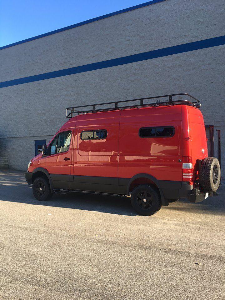 Aluminess Roof Rack On This Red Beauty Ford Transit Camper Sprinter Van Camper Sportsmobile Van