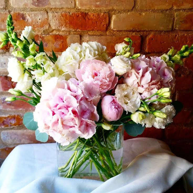 I Created This Arrangement Of Peonies Hydrangea Stock Snapdragon And Spray Roses For A Bridal Shower Flower Arrangements Flowers Bouquet Floral Arrangements