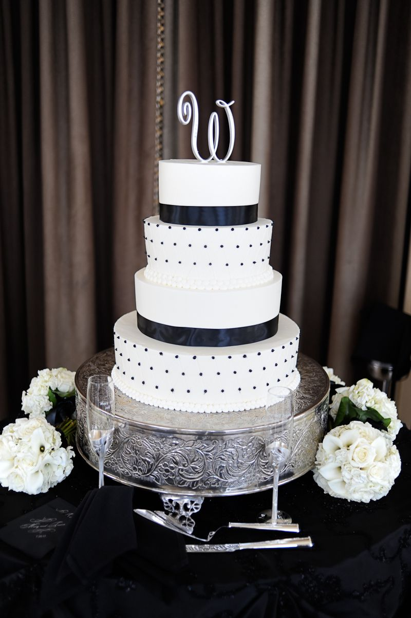 Pin By United With Love On Wedding Cakes Desserts Black And White Wedding Cake Simple Wedding Cake Polka Dot Wedding Cake
