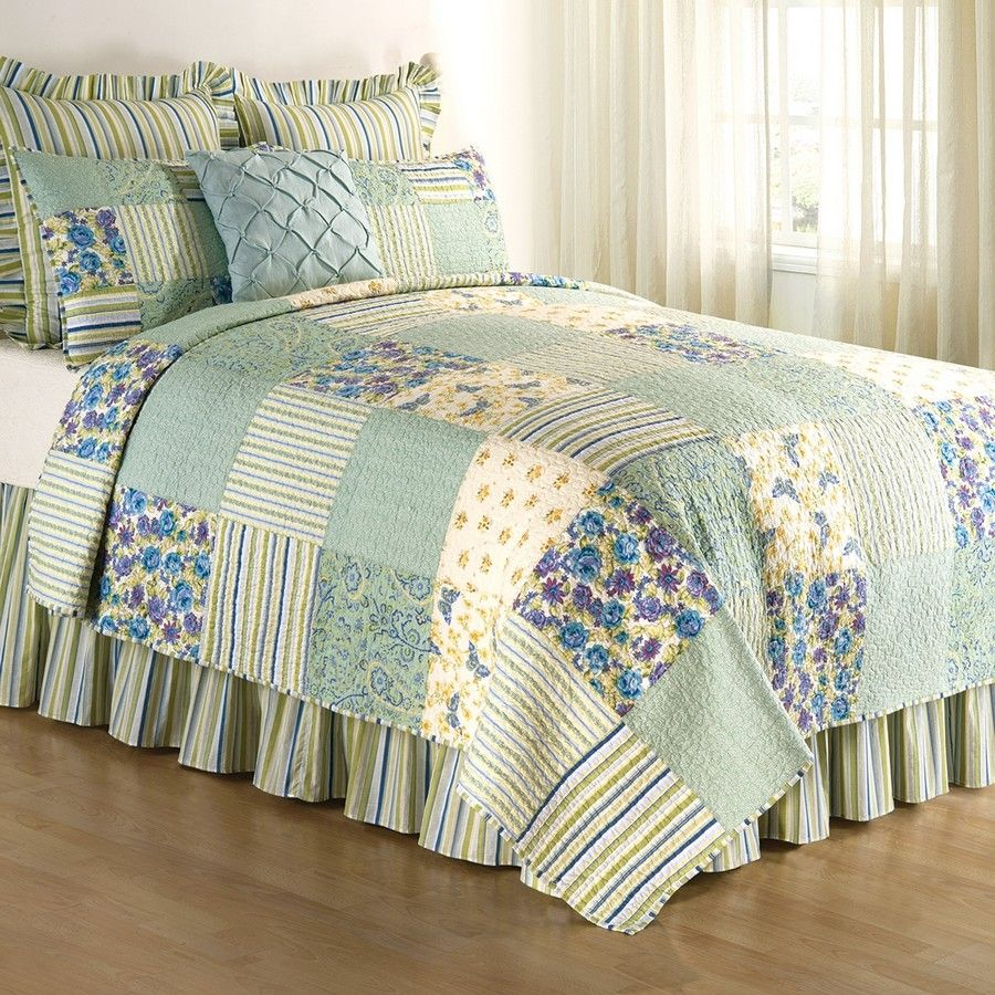 April Showers Patchwork King Size 3 Pc Quilt Set Quilt 2 Shams Spring Green C/&F