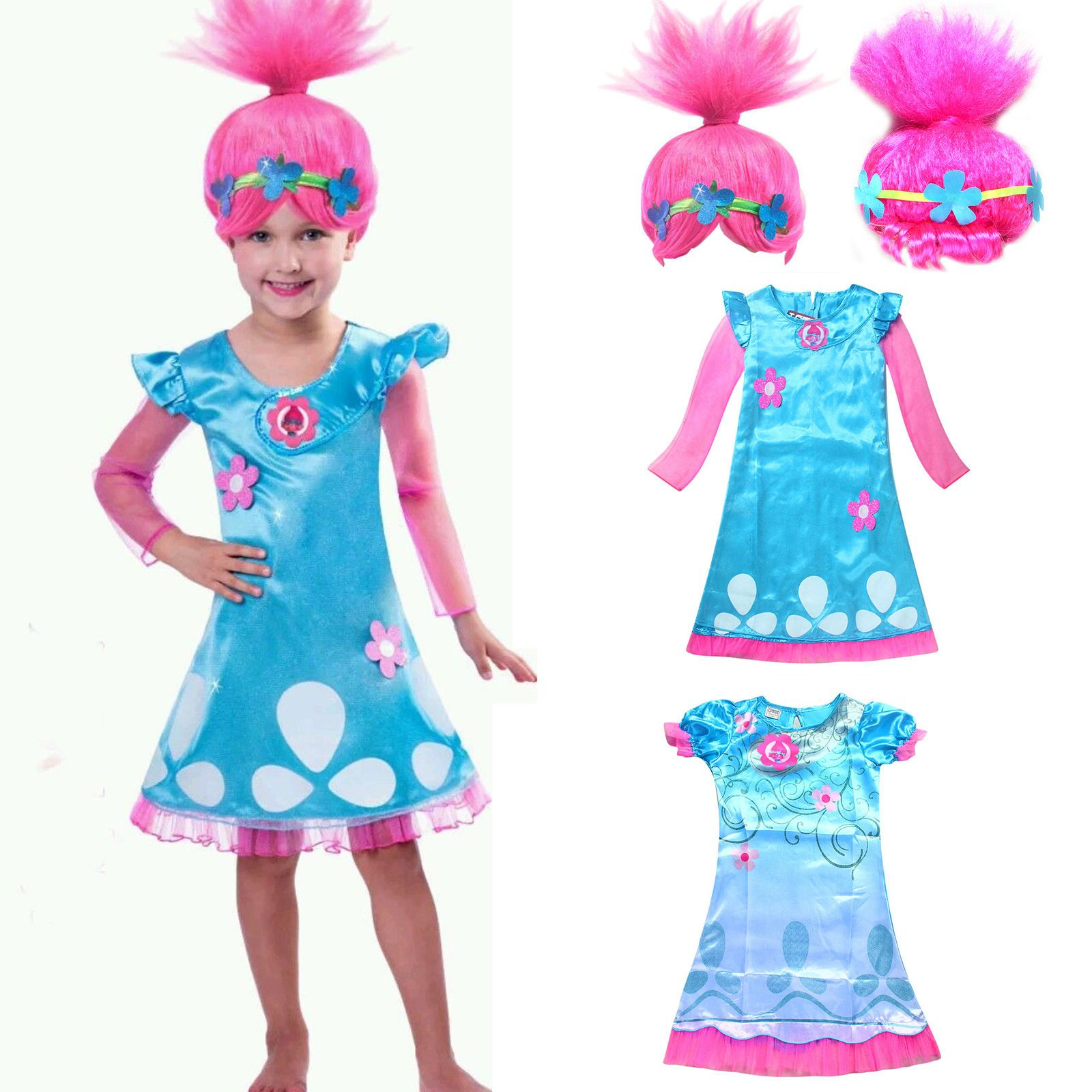 Toddler Kid Girl Wig Trolls Poppy Fancy Dress Costume Cosplay Party ...