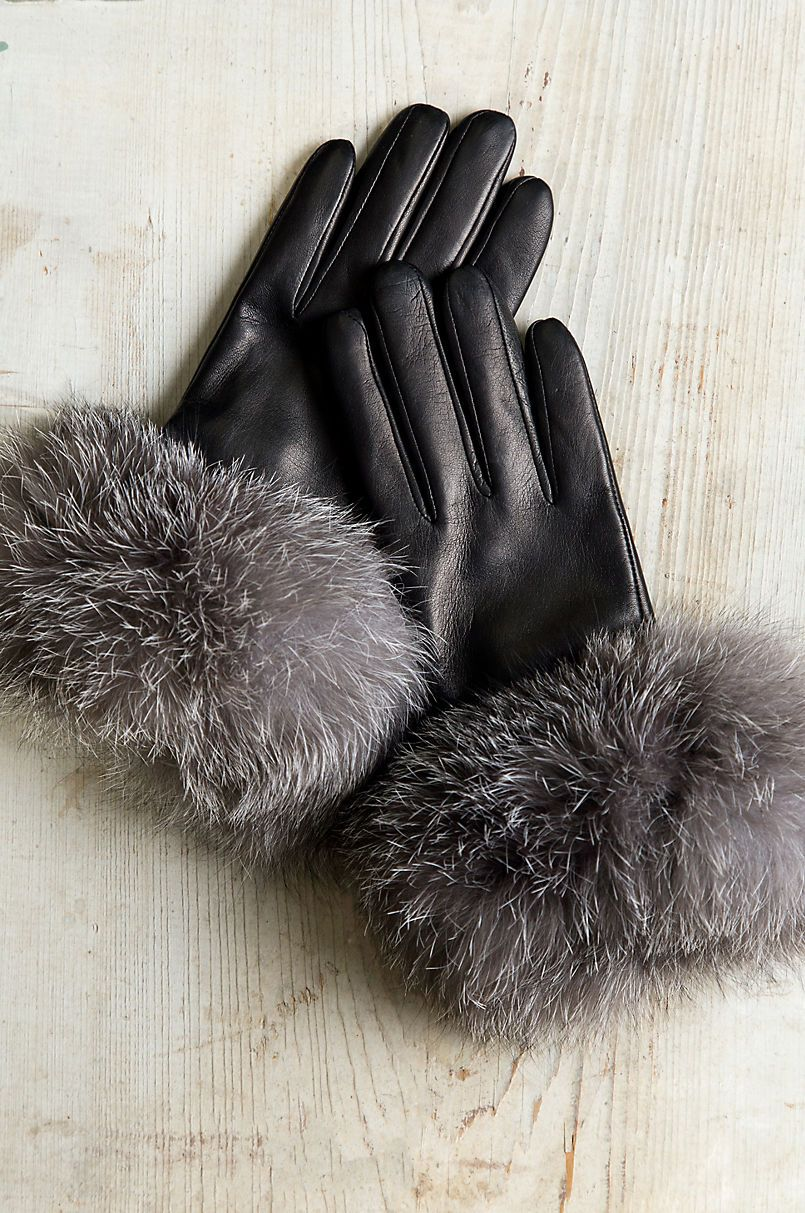Winter Woman Gloves,Soft Gray Color Small Woman Gloves Fur Gloves Woman Vintage Gloves with Rabbit Fur Trim Leather Ladies Gloves