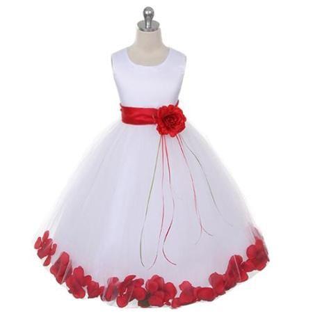 ee3347b706 Kids Dream Girl 9 10 White Satin Red Petal Flower Girl Dress