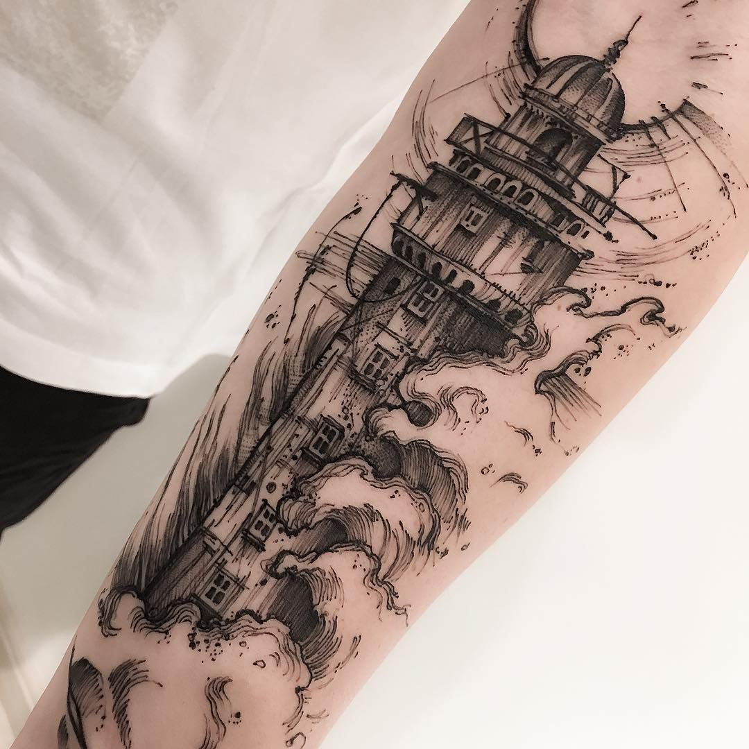 Tool box tattoo by mark old school tattoos by mark pinterest - Lighthouse Sketch Style Tattoo By Victor Montaghini The Lines Are Irregular And There Is A General Messiness To These Sketch Style Tattoos That Make Them