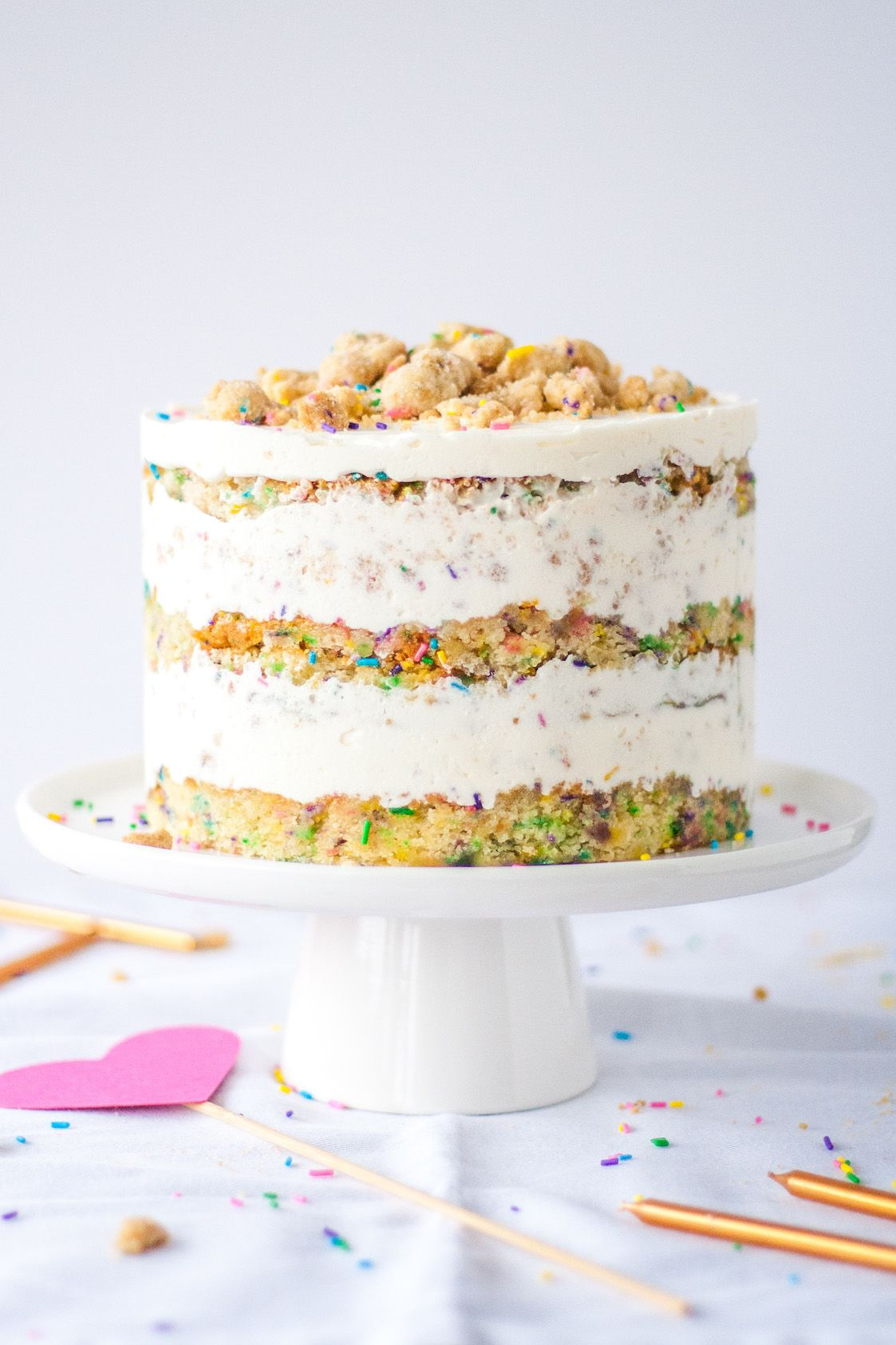 The Ultimate Birthday Cake A sweet funfetti cake topped with a