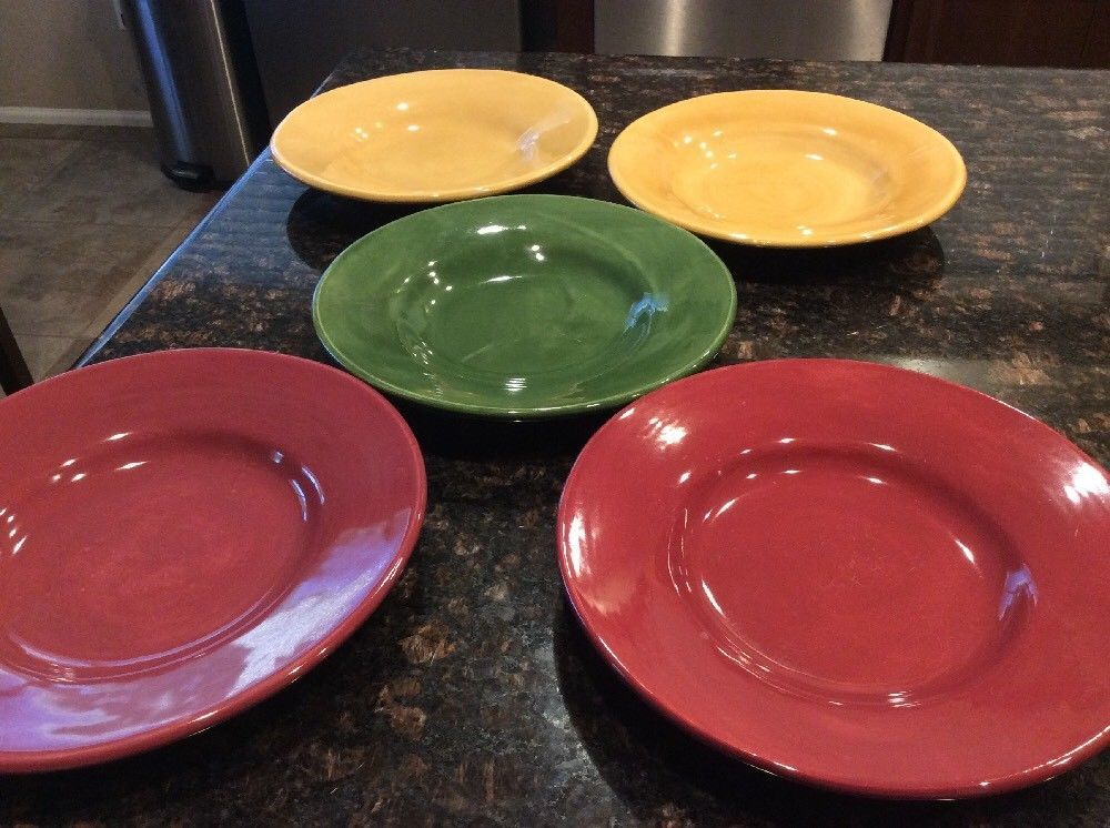 5 Pottery Barn SAUSALITO Dinner/lunch Plates 9 3/4\ . Mexico. Green Maroon Yellow & 5 Pottery Barn SAUSALITO Dinner/lunch Plates 9 3/4\