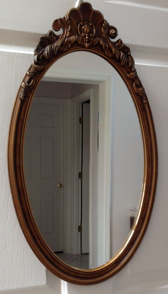 Vintage Oval Mirror Wood Frame Framed