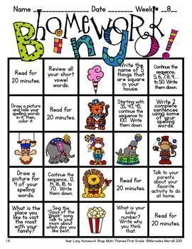 Distance Learning Year-Long Homework Bingo