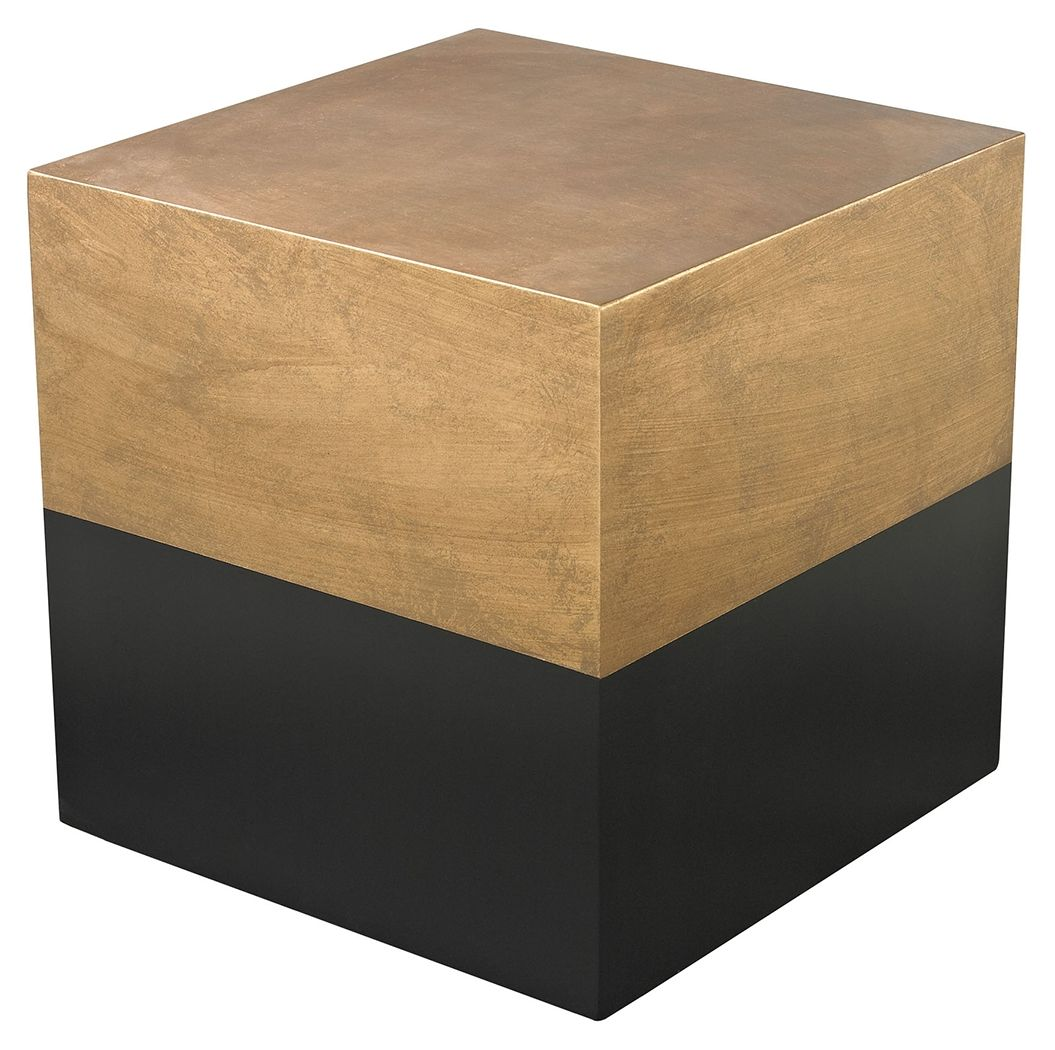 Elk Home Modern Draper Cube Table in Black and Gold