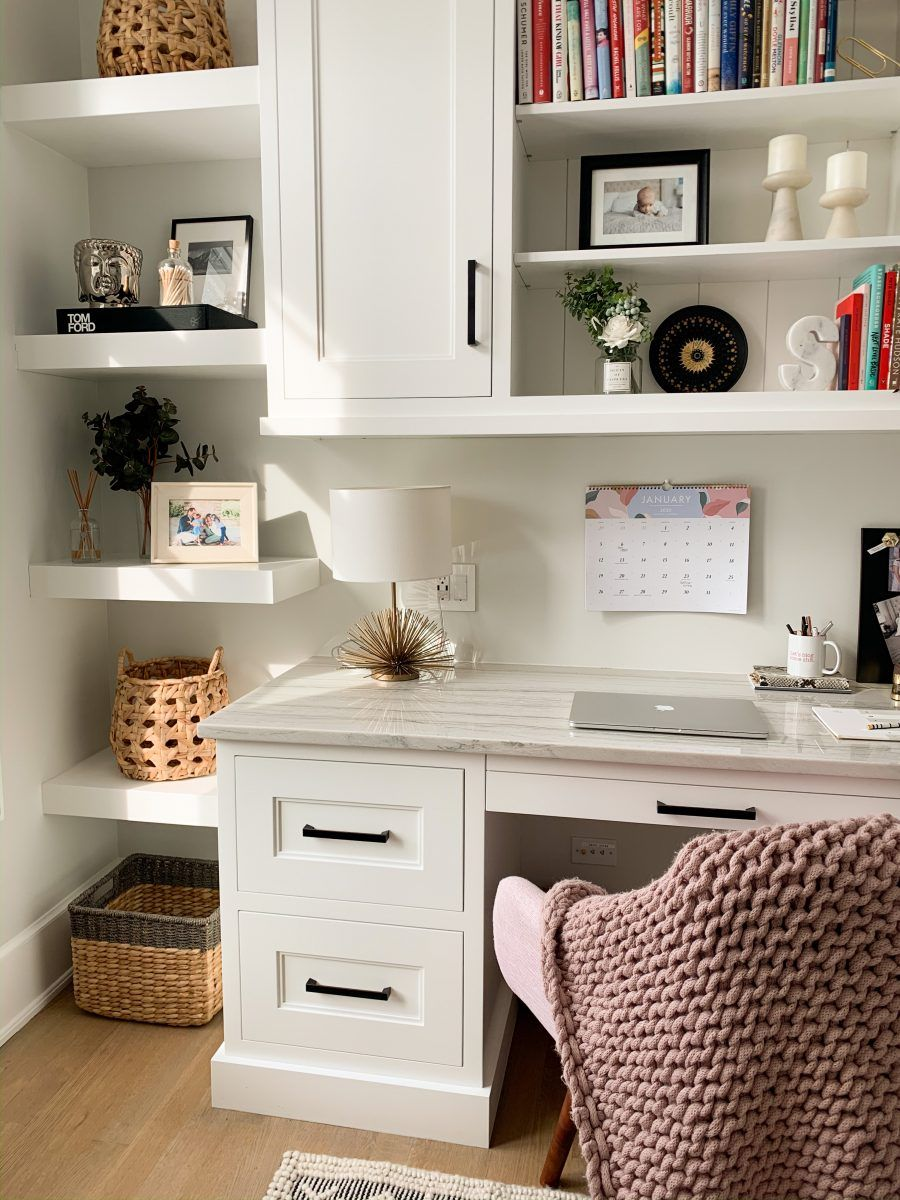 Home Office Tour | my kind of sweet | home office inspo | home decor | home inspo | at home | interior design | built ins | custom built ins | how to style shelves | quartzite counter | built in desk #homeoffice #homedecor #interior #interiordesign #builtins #shelves #officedecor