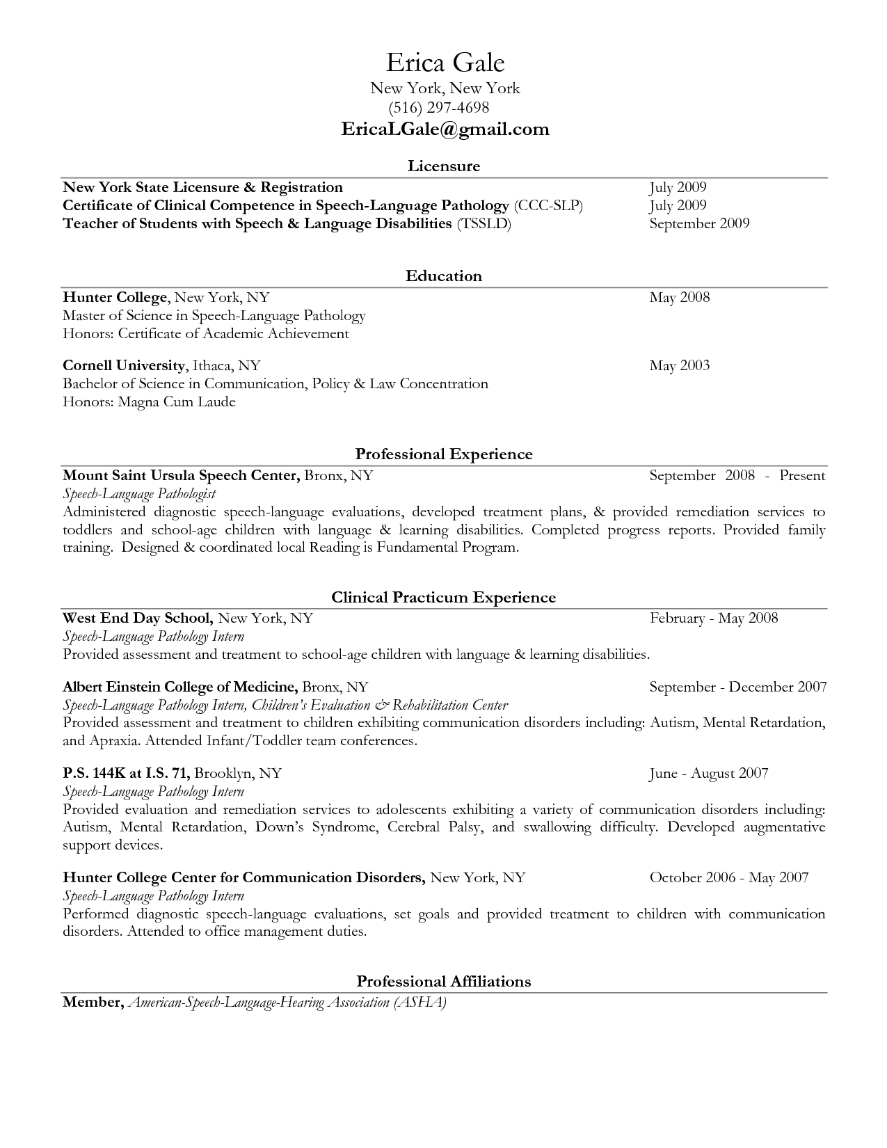 SLP Resume Example  SpeechLanguage Pathology Sample