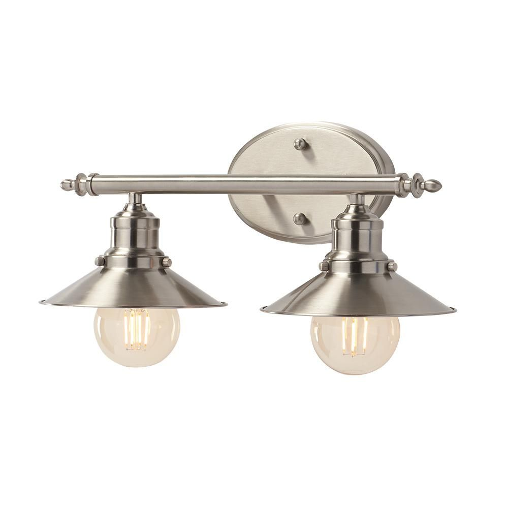 Home Decorators Collection 2Light Brushed Nickel Retro Vanity Fair Home Depot Bathroom Light Fixtures Decorating Inspiration