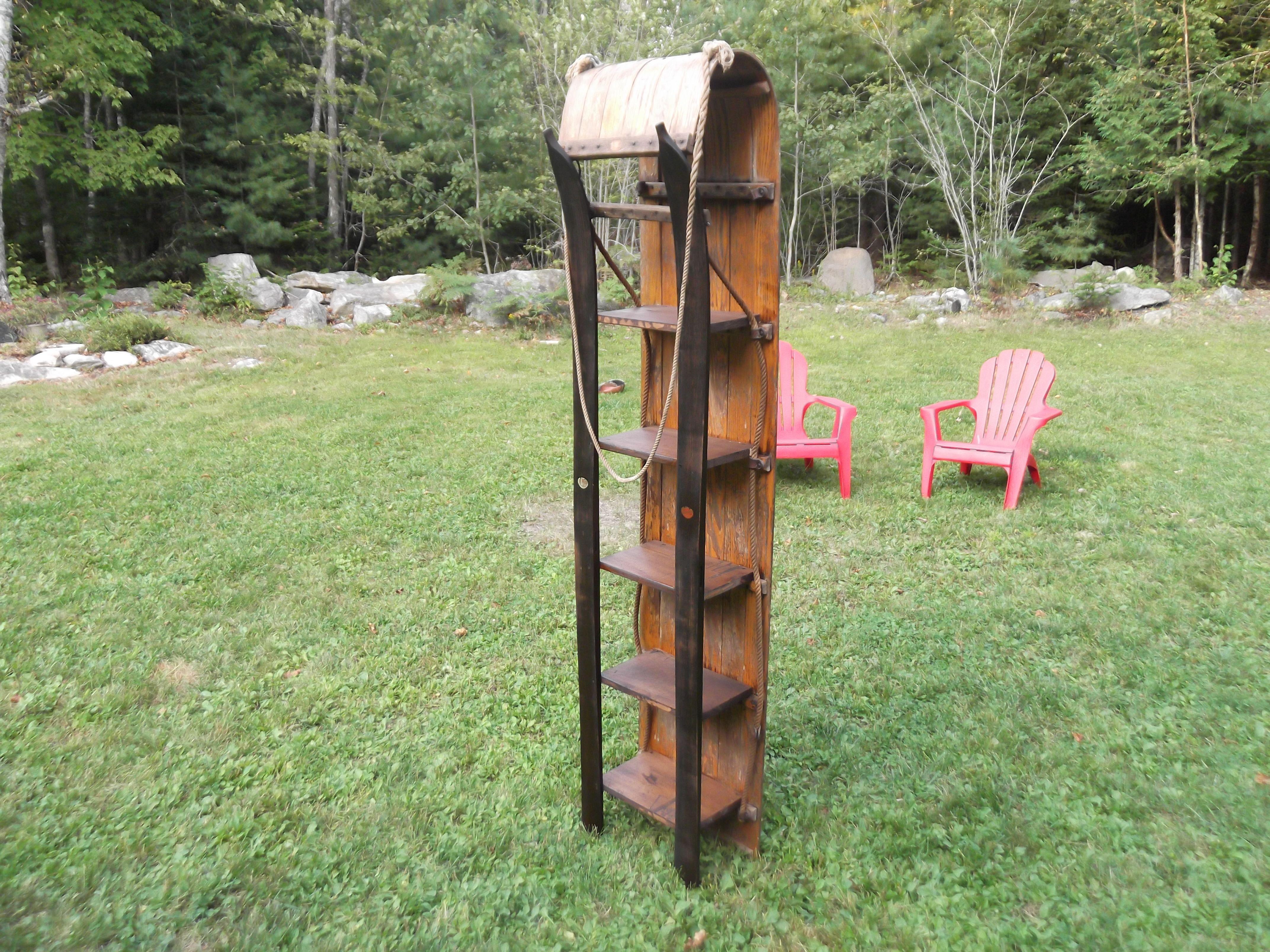 a toboggan shelf made with antique ski u0027s and toboggan homemade