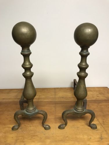 Antique Vintage Set Of Brass Cast Iron Fireplace Andirons Fire Dogs Cannonballs Cast Iron Fireplace Log Holder Fireplace Fireplace Andirons