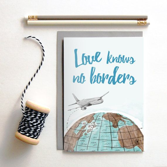 Love knows no borders greeting card long distance boyfriend gift long distance relationship gift idea greeting card available byseaandskysy m4hsunfo