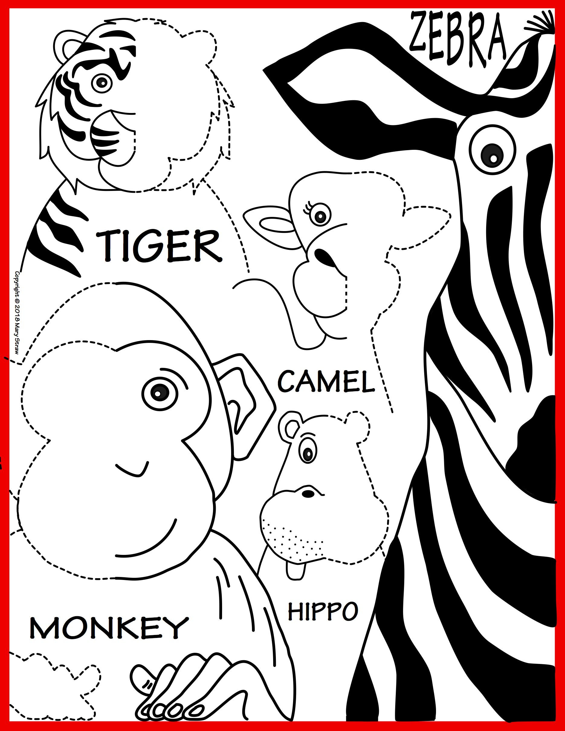 Zoo animals symmetry activity coloring pages first grade learning