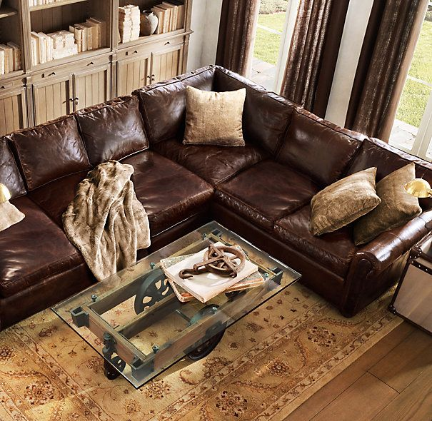 Lancaster Leather Sectional Restoration Hardware In Italian Brompton Cocoa Sofas Brown