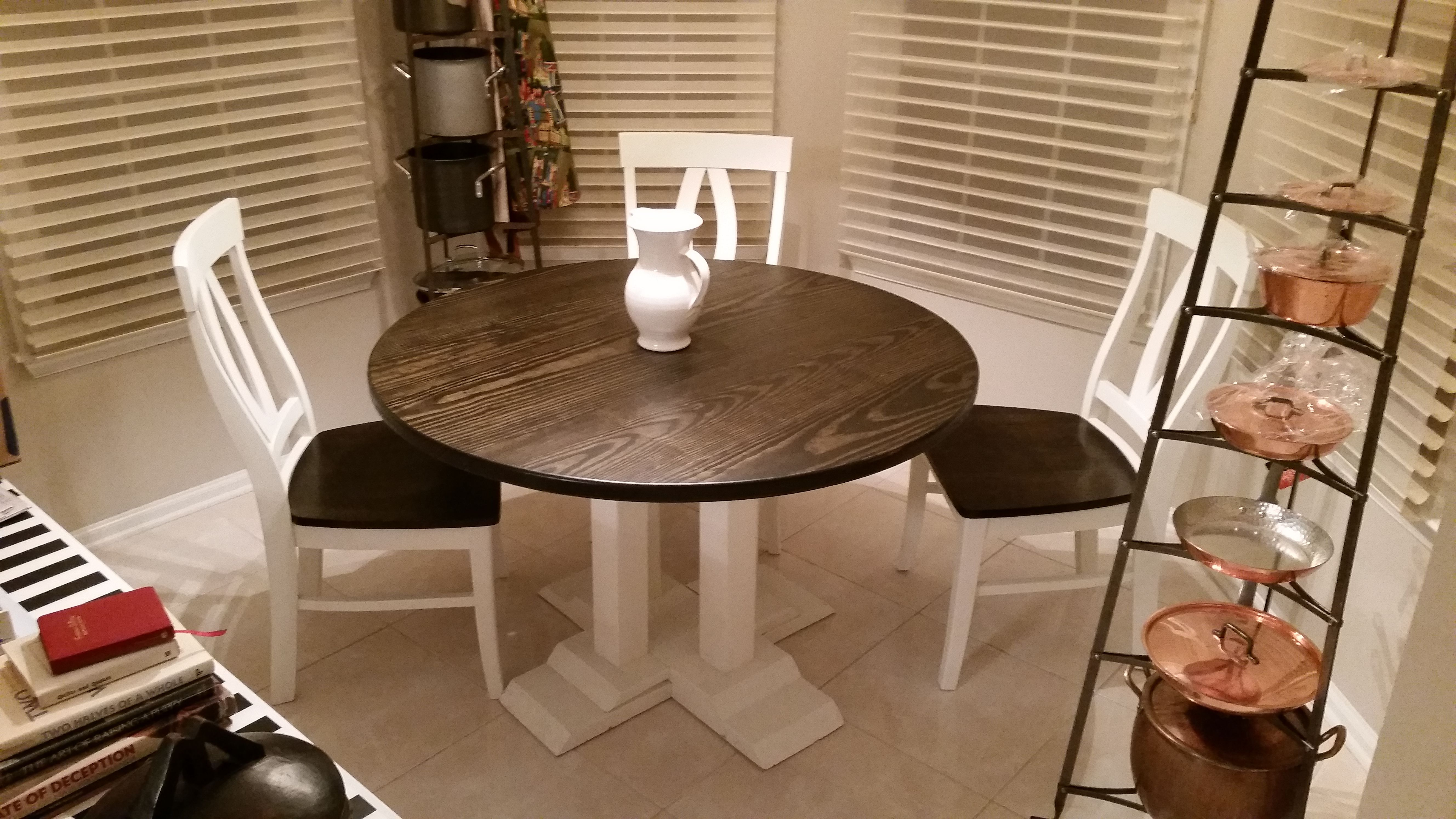 Painted round dining table  Built and finished by hand at JamesJames the Round Farmhouse Table