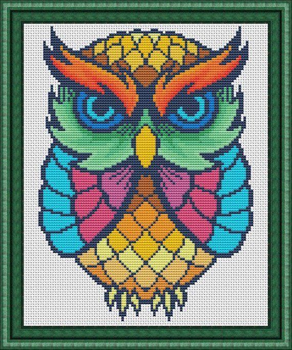 Photo of Colorful Owl cross stitch pattern – Mandala cute owl – Instant Download PDF