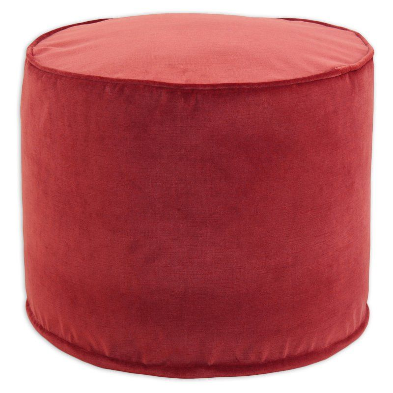 Brite Ideas Decorating Classic Velvet Round Corded Foam Ottoman Rust    BE20C8707